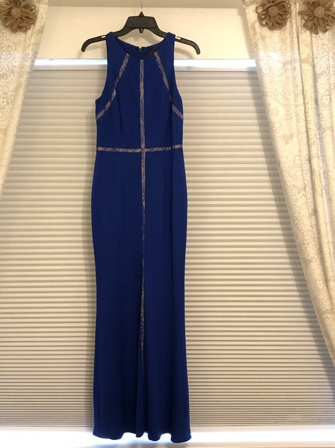 Item - Deep Sapphire Mesh Knit Polyester Jersey Halter Mermaid Gown Ap1e202052 Formal Bridesmaid/Mob Dress Size 4 (S)