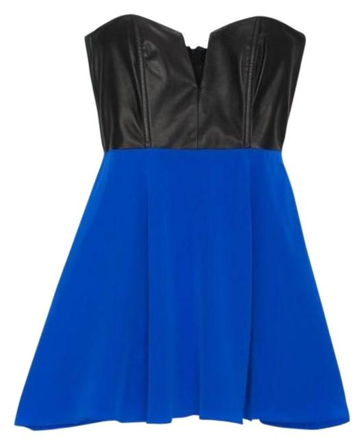 Item - Cobalt Leather & Silk Corset Mini Short Night Out Dress Size 4 (S)