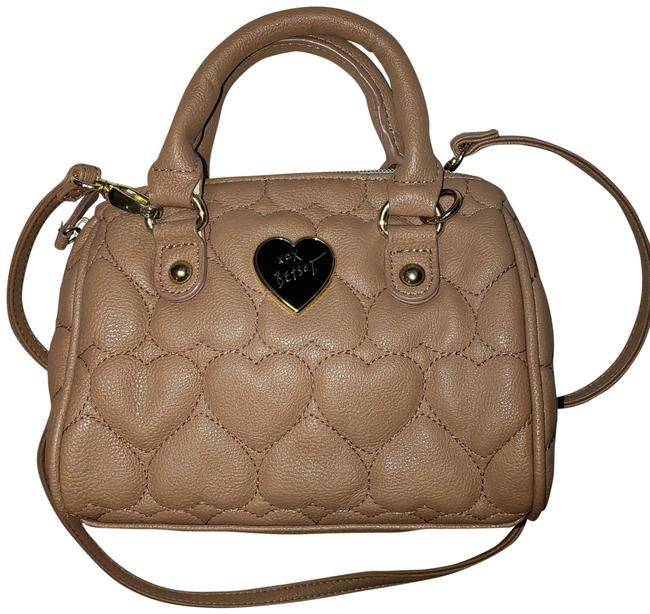 Item - Heart Satchel Accent Bow Ch Beige Tan Faux Leather Cross Body Bag