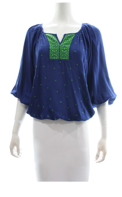 Item - Navy Flowy with Aztec Embroidery Small Blouse Size 6 (S)