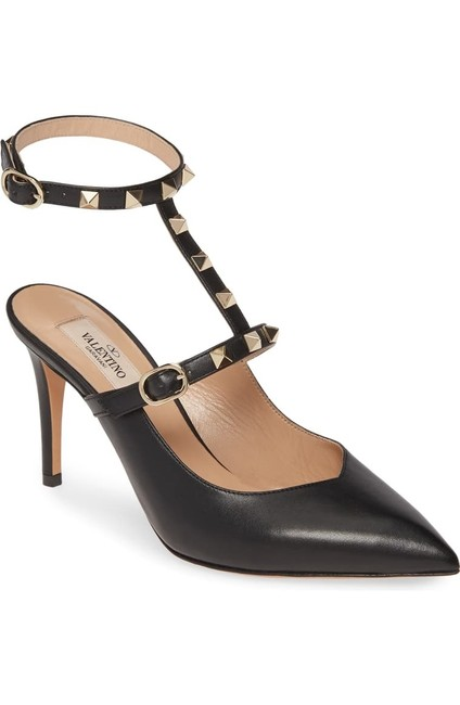 Valentino Black Leather Ankle Strap Pumps Size EU 37 (Approx. US 7) Regular (M, B) Valentino Black Leather Ankle Strap Pumps Size EU 37 (Approx. US 7) Regular (M, B) Image 1