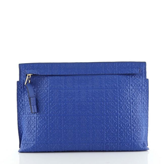 Loewe T Pouch Anagram Embossed Blue Leather Clutch Loewe T Pouch Anagram Embossed Blue Leather Clutch Image 1
