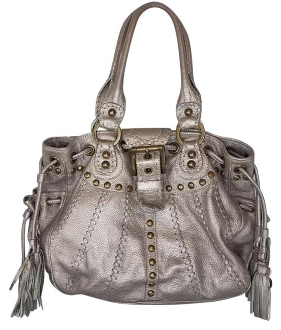 Isabella Fiore Bag Whipstich Elaina Silver Gold Leather Tote Isabella Fiore Bag Whipstich Elaina Silver Gold Leather Tote Image 1