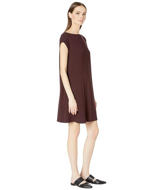 Preload https://img-static.tradesy.com/item/27539980/eileen-fisher-brown-jersey-twist-viscose-back-short-casual-dress-size-2-xs-0-0-650-650.jpg