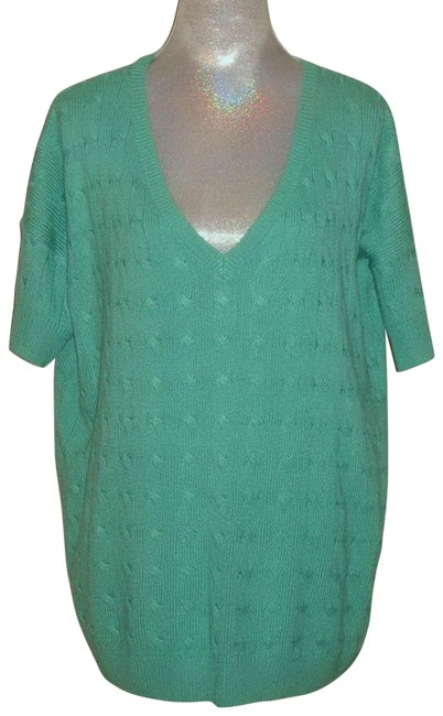 Item - Teal L Silk Cable Knit Sweater Tunic Size 12 (L)