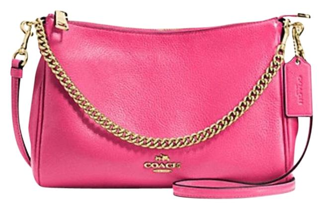 Coach Crossbody Carrie In Pebble F36666) Imitation Gold/Dahlia Leather Shoulder Bag Coach Crossbody Carrie In Pebble F36666) Imitation Gold/Dahlia Leather Shoulder Bag Image 1