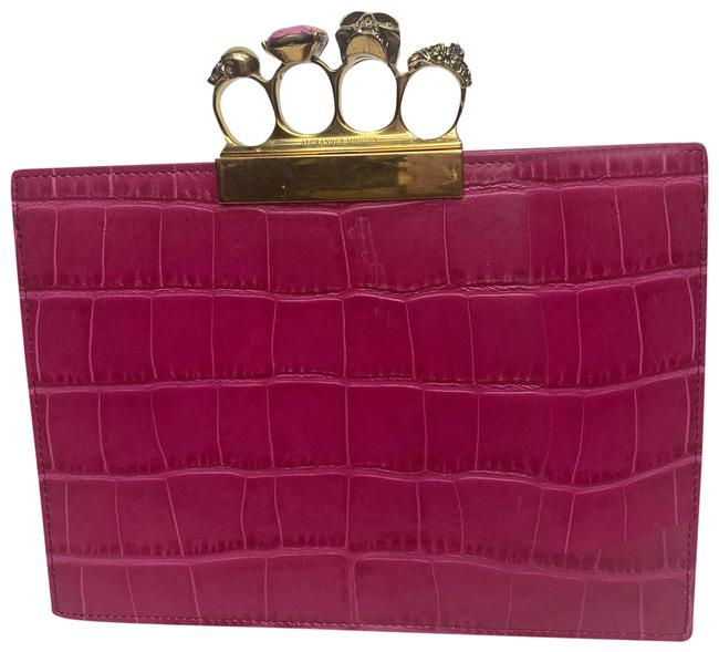 Alexander McQueen Croc Fuchsia Knuckle Pink Leather Clutch Alexander McQueen Croc Fuchsia Knuckle Pink Leather Clutch Image 1