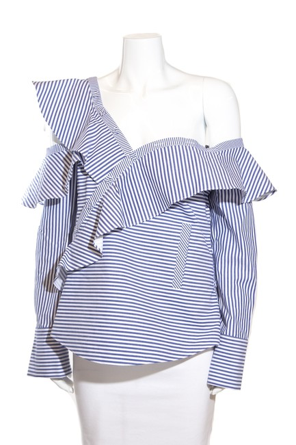 Preload https://img-static.tradesy.com/item/27540036/self-portrait-blue-and-white-striped-blouse-size-8-m-0-1-650-650.jpg