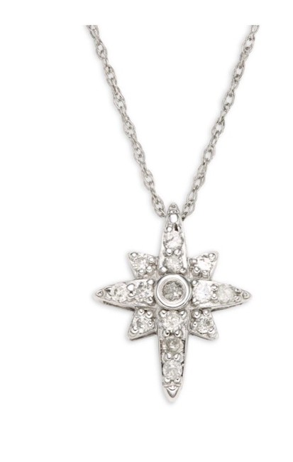 """Item - White 14k Gold North Star Diamond Pendat 0.15ctw with 18"""" Chain Necklace"""