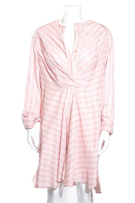 Item - Pink Striped with Corset Mid-length Short Casual Dress Size 8 (M)