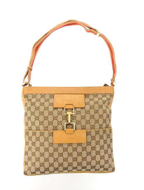 Gucci Messenger Flat Hip Shoulder Brown Web Gg Monogram Canvas Leather Cross Body Bag Gucci Messenger Flat Hip Shoulder Brown Web Gg Monogram Canvas Leather Cross Body Bag Image 1