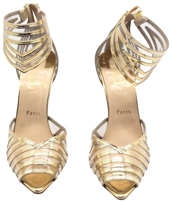 Item - Gold Specchio Pvc Maratena 100 Heels Sandals Size EU 40.5 (Approx. US 10.5) Regular (M, B)