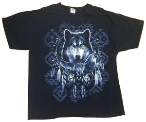 Fruit of the Loom Wolf Wolves T Shirt Black