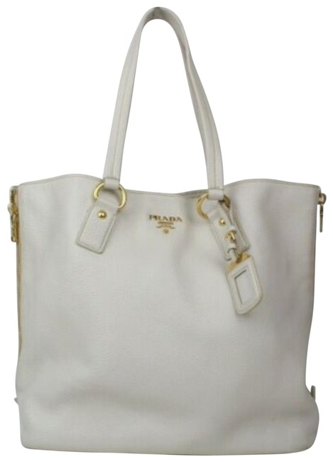 Item - Top Handle Vitello Daino XL W W/ Zip Sides Ivory Leather/Gold Tote