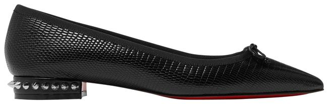 Christian Louboutin Hall Spiked Glossed Lizard-effect Leather Point-toe Flats Size EU 35.5 (Approx. US 5.5) Regular (M, B) Christian Louboutin Hall Spiked Glossed Lizard-effect Leather Point-toe Flats Size EU 35.5 (Approx. US 5.5) Regular (M, B) Image 1
