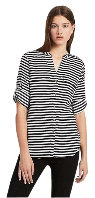 Preload https://img-static.tradesy.com/item/27540693/calvin-klein-black-and-white-striped-roll-up-sleeve-blouse-size-8-m-0-1-650-650.jpg