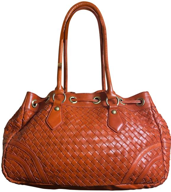 Adrienne Vittadini Bucket Woven / Burnt Orange / Bright Red Leather Shoulder Bag Adrienne Vittadini Bucket Woven / Burnt Orange / Bright Red Leather Shoulder Bag Image 1