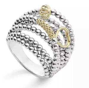 Lagos Lagos Caviar Sterling Silver 18k Gold Domed Icon Ring Size 7