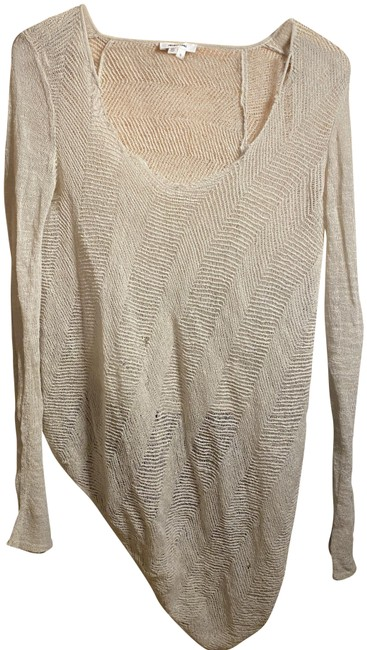 Item - Cream / Beige / Nude Sleeve Distressed Woven Wool / Pullover Tee Shirt Size 4 (S)