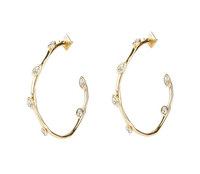 Alexis Bittar Gold 2020 Current Navette Crystal Hoop Earrings Alexis Bittar Gold 2020 Current Navette Crystal Hoop Earrings Image 1