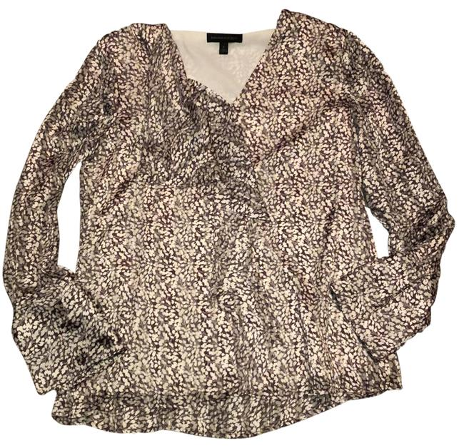 Item - Brown and Cream Ruffled Front Blouse Size 6 (S)