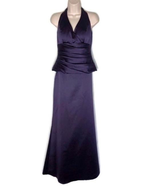 Item - Purple Satin 2 Piece V-neck Halter Gown Deep Traditional Bridesmaid/Mob Dress Size 8 (M)
