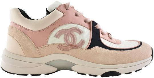 Preload https://img-static.tradesy.com/item/27541614/chanel-pink-19c-white-black-leather-suede-cc-logo-flat-runner-trainer-sneakers-size-eu-41-approx-us-0-1-540-540.jpg
