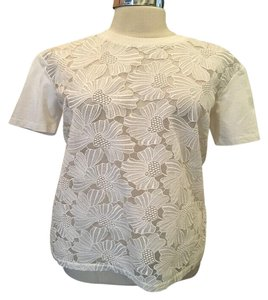 Giamba T-shirt Cotton Blend Lace Front T Shirt White
