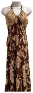 brown and beige Maxi Dress by Donna Ricco