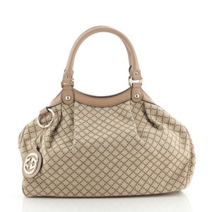 Gucci Canvas Tote in brown, pink