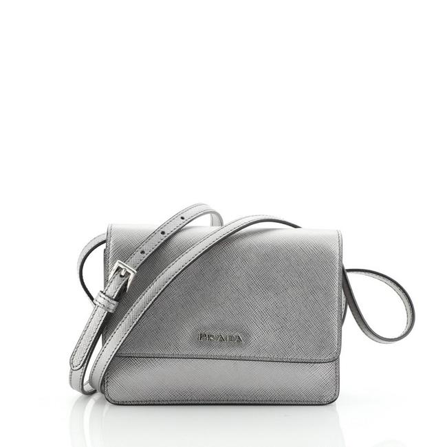 Item - Wallet On Strap Saffiano Small Silver Leather Clutch