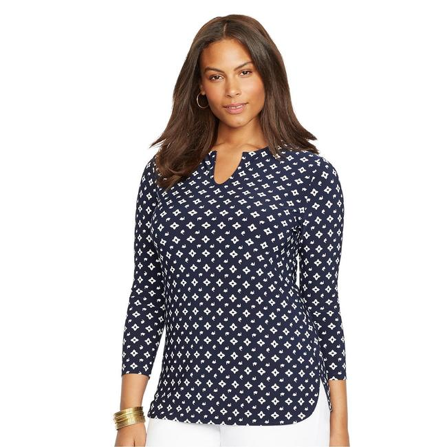 Item - Navy Blue Pearl Jersey Abstract Floral Stretch Keyhole Tunic 3x Blouse Size 26 (Plus 3x)