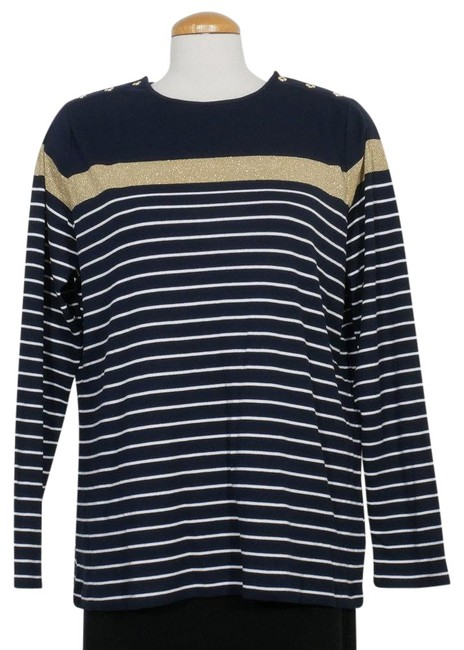 Item - Navy Blue White Gold Stripe Cotton Knit Button Neck 1x Blouse Size 20 (Plus 1x)