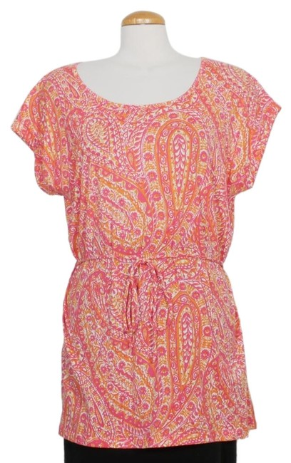 Item - Pink Orange White Cotton Paisley Belted Tunic 1x Blouse Size 20 (Plus 1x)