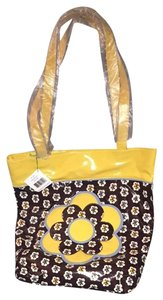 Vera Bradley Tote in Brown/yellow/blue