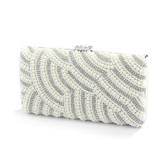 Soft Cream Stunning Pearl Crystal Minaudiere Clutch Bridal Handbags