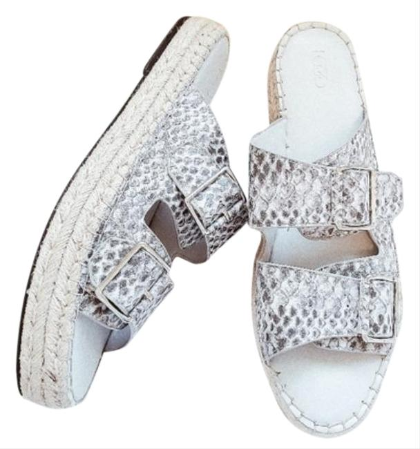 Item - Gray White Lindsay Snakeskin Printed Platform Espadrille Slide Sandals Size US 10 Regular (M, B)