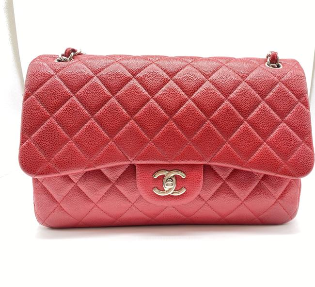 Item - Flap Jumbo Classic Red Caviar Quilted Cross Body Bag