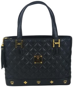 MCM Ships In 24 Hours Quilted Leather Vintage Rare Style Tote in Black