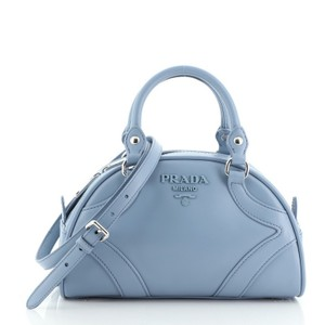 Item - Bowling Convertible Handle Small Blue Leather Satchel