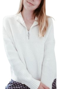 Hollister Quarter Zip Ribbed Knit Oversized Sweater
