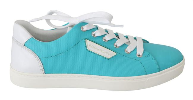 Item - Light Blue and White Logo Leather Casual Sneakers Dolce & Gabbana Flats Size US 6.5 Narrow (Aa, N)
