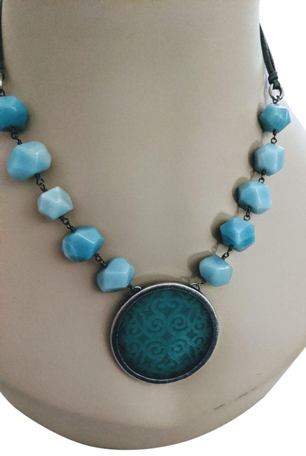 Item - Sterling Gemstone Leather Chunky N023 Necklace