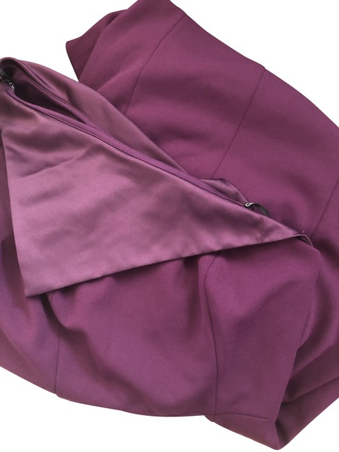 Item - Purple Satin Overlay Body Con Stretch Crepe Mid-length Cocktail Dress Size 6 (S)