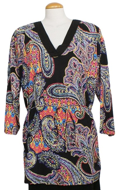 Item - Black Multi Jersey Paisley Cotton Woven Neck 1x Tunic Size 20 (Plus 1x)