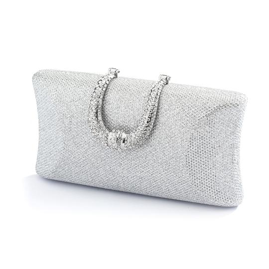 Silver Glittery Texture Evening Clutch Bridal Handbag