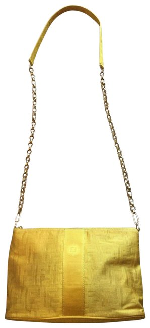 Item - W Shoulder/Cross Body Purse Chain Strap Yellow Zucca Print/Gold Canvas and Leather Shoulder Bag