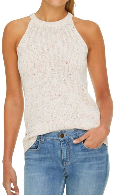 Item - Snowy White/Peach/Pink Marled Sweater Knit White/Pe Halter Top Size 12 (L)