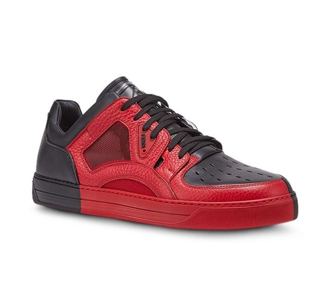 Item - Black Red Leather Logo 7e1204 Perforated Sneakers Uk 9 / Us 10 Italy Shoes