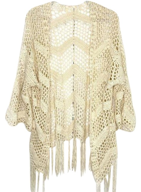 Cream Tan Crochet & Fringe Cardigan Size OS (one size) Cream Tan Crochet & Fringe Cardigan Size OS (one size) Image 1